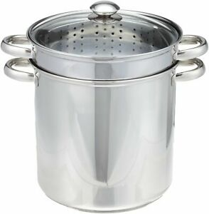 Pasta Cooker Steam Pot Stainless Steam Steamer 12 Quart Cooking Spaghetti 4 Pcs