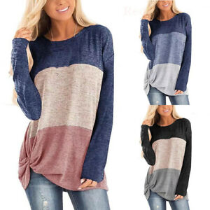 Womens Long Sleeve Shirt Tops Tunic Casual Loose Pullover Blouse Sweatshirt US