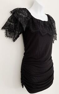 BOSTON PROPER Women Top Sz S Black Lace Collar Sleeve Ruched Sides $20.89
