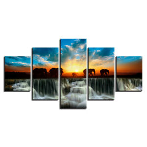 Elephant Family Walk in Sunset 5 Pcs Canvas Print Poster HOME DECOR Hang Picture