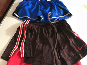 LOT of (2) Nike Womens Workout Shorts Blue Brown Small S (S30)