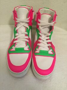 Gucci Men's Neon Leather High-top sneaker wStrap GreenPinkWhite 386738