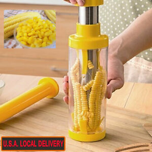 Corn Cob Stripper Cutter Peeler Thresher Remover Kitchen Safety Tool Yellow