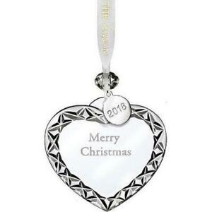 """Waterford Crystal Heart Ornament """"Merry Christmas"""" 3"""
