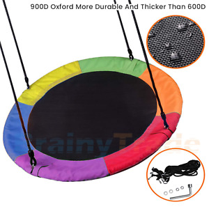 40#x27;#x27; Tree Swing Chair Oxford Web Net Kids Outdoor Round Hanging Rope Tire Saucer