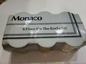 Vintage Monaco 6 Piece On The Rocks 10 Oz Glasses