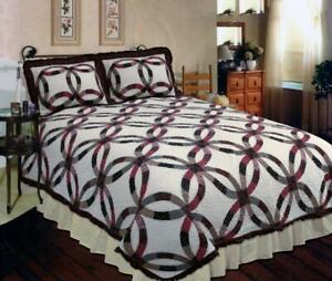 3PC Heritage Wedding Ring Patchwork Queen Bed Quilt. Bedding Package Set