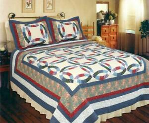 3PC Providence Wedding Ring Patchwork Queen Bed Quilt. Bedding Package Set