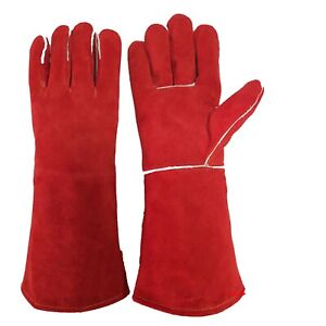 16 Welding Gloves Heat Resistant Unibody Cow Split Leather BBQ Cooking Red $13.99