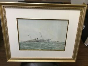 Fred Schiller Cozzens Watercolor Steam Yacht NOMA