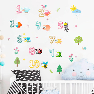 Wall Stickers Arabic Numbers 1-10 Animals Cute For Kids Room Class Room Mural