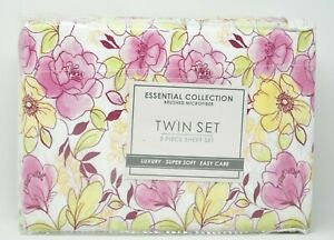 Jessica Sanders Essential Collection Floral Watercolor 3-Pc Sheet Set TWIN White