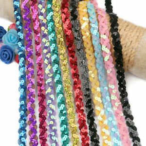 5yds Sequins Lace Ribbon Trim Sewing Dress Bag Decor DIY Wedding Party Craft USA