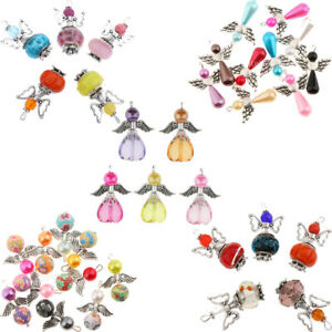 35x Acrylic Pearl Drop Heart Beads Angel Wing Charms DIY Jewelry Craft Gift