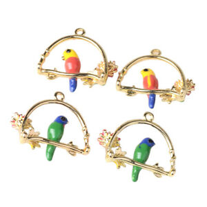 4x Parrot Garland Charms DIY Jewelry Pendants Earring Finding Necklace Decor