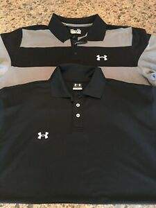 LOT OF 2 Under Armour Polo Shirts Men's LargeXL Golf Black GrayBlack Striped