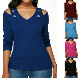 Womens Cold Shoulder T Shirt Long Sleeve Tunic Tops Caual Plus Size Solid Blouse