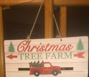 New wooden wall hanging glitter Christmas Tree Farm Sign farmhouse sliding truck