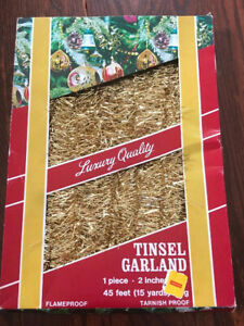 Vintage tinsel Christmas garland Gold New in Box West Germany 45ft