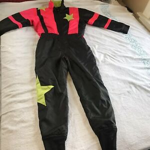Vintage Ski Suit Womens Size 10 One Piece Skiwear White Stag 80-90's Black Pink