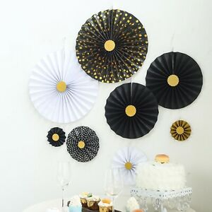 8 pcs Black White Gold Paper Fans Wall Backdrop Wedding Party Home Decorations