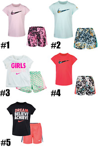 New Nike Little Girls Dri FIT Logo Graphic Shirt & Shorts Set MSRP $30 and $36 $20.99