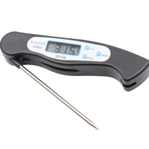 Digital LCD Foldable Probe Food Thermometer For Kitchen BBQ Meat Cooking