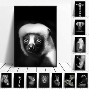 Black White Wild Animal Canvas Painting Poster Nordic Home Wall Art  Decoration
