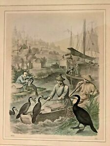 1858 Trained Cormorant Fishermen Antique Chinese COLORED STONE LITHOGRAPH PRINT