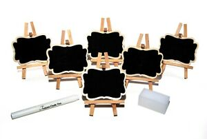 6-pack Mini Chalkboard Easel Kit with White Chalk Pen & Sponge Eraser