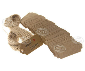 100 x Brown Kraft Paper 4 X 2cm Hang Tags Label Wedding Party Price Gift Cards