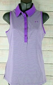 UNDER ARMOUR Fitted Striped Sleeveless Polo Shirt Golf Women's XS XSmall Top