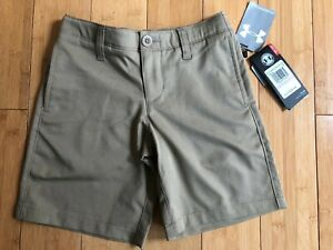 New UNDER ARMOUR Boys Golf Shorts HeatGear Casual Dress Tan NWT $40 YOUTH 6 $16.95