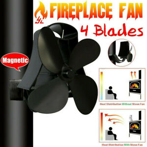 Wall Mounted Heater Powered 4 Blades Flue Pipe Stove Fan Fixed On Chimney US