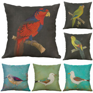 Cotton Throw Decorative Linen Home Cover Square Parrot Bird Cushion Pillow Case $3.15