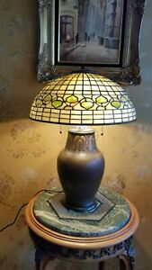 Tiffany Studios Leaded Slag Glass Acorn Shade Rookwood Pottery Lamp Base