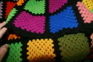 Vintage Granny Square Hand Crocheted Afghan - Blanket - Throw - 30