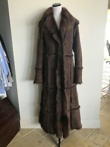 Oliveri  Vintage Designer Bonwit Brown Sherling Long Fur Made in Italy 44L