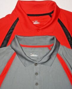 Mens EUC Lot of 2 RedGray UNDER ARMOUR Heat Gear SS Golf Polo Shirt size XL