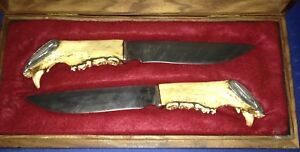 Roy Carter Custom Made Hunting Fixed Blade Knife Set - 2 Knives - One Of A Kind