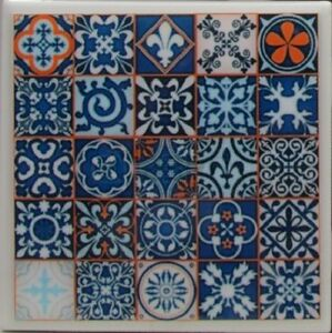 Set of 4 - Handmade  Natural Stone Ceramic Tile Drink Coasters - Mexican Tile 4D