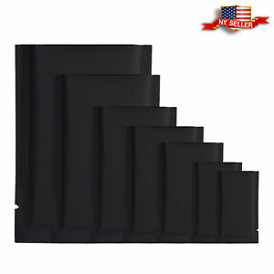 100 Double-Sided Matte Black Open Top Mylar Foil Sample Snack Pack Storage Bags