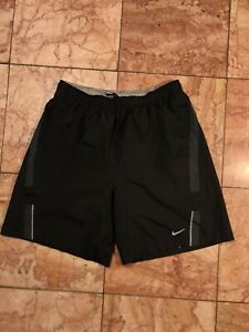 Nike Running Dri Fit Mens Performance Shorts Lined Reflective Medium Black