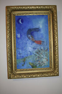 Vintage unsigned Oil? Painting on canvas Abstract Art *****