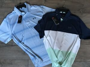 Under Armour Mens Large PLAYOFF Polo 2.0 Stripe 2 Pc Lot NWT HeatGear 1327037