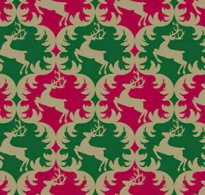 The Gift Wrap Company 9#x27; Gift Wrap Roll Reindeer Ogee 96 3951