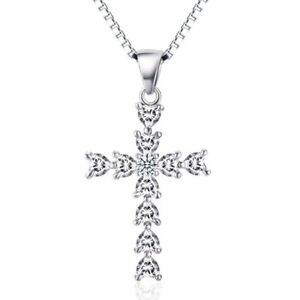 Cross Silver Sterling Pendant 925 Necklace Women Cz Charm 18 S Women#x27;s Chain