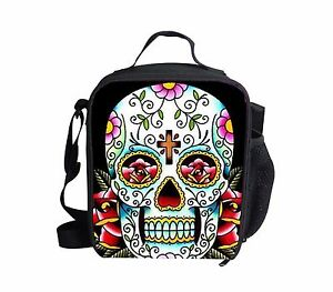 Insulated Lunch Bag Tote Womens Thermal Cooler Skull Print Fit Fresh Kids School