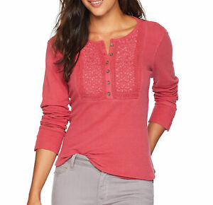 Lucky Brand Cotton Embroidered Henley Thermal Top Red XXL