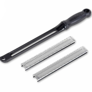 Microplane Snap-In Handle with 8 Inch Coarse and Fine Flat Blade Set